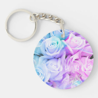 Stylish Pink + Lavender Rose Double Sided Keychain