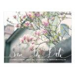 Stylish Pink Magnolia Save the Date Photo Postcard