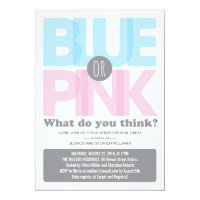 Stylish Pink or Blue Baby Gender Reveal Party 5x7 Paper Invitation Card