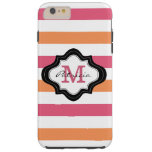 Stylish Pink Orange White Stripes Custom Monogram Tough iPhone 6 Plus Case