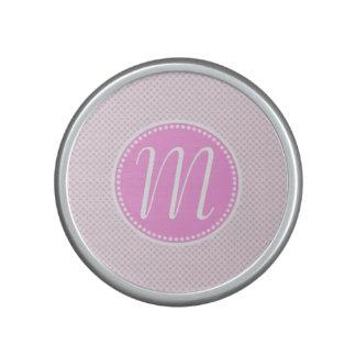 Stylish Pink Pastel Lattice Monogram Bluetooth Speaker