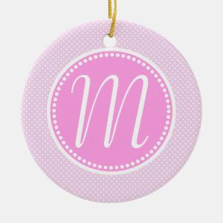 Stylish Pink Pastel Polka Dot Monogram Ceramic Ornament