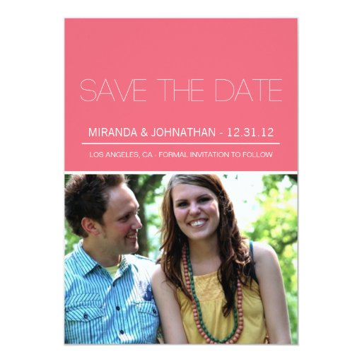 Stylish Pink Photo Save The Date Announcements