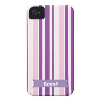Stylish Pink & Purple Vertical Stripes iPhone 4 Case