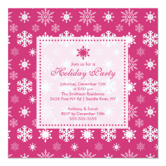 "Stylish Pink Snowflakes Holiday Party Invitation 5.25"" Square Invitation Card"