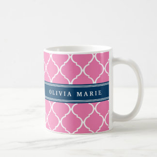 Stylish Pink Trellis Pattern Navy Blue Nameplate Coffee Mug