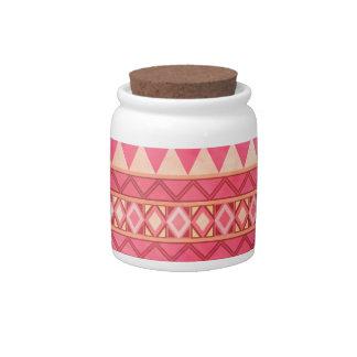 Stylish Pink Tribal Triangle Pattern Candy Dish