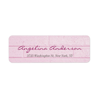 Stylish Pink Wall Handwriting Modern Feminine Label