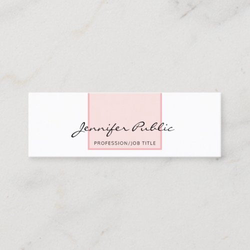 Stylish Pink White Creative Simple Modern Design Mini Business Card