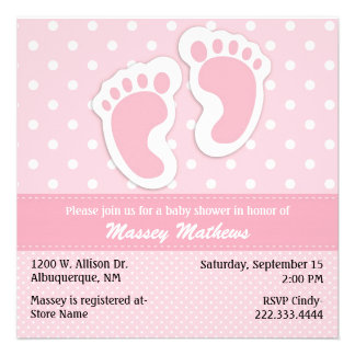 Stylish Pink White Polka Dot Baby Shower Announcements