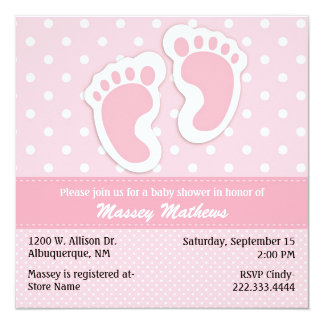 Stylish Pink & White Polka Dot Baby Shower Announcements