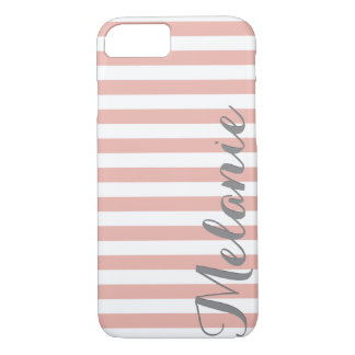 Stylish Pink White Stripes Pattern and Name iPhone 7 Case