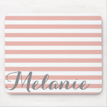 Stylish Pink White Stripes Pattern and Name Mouse Pad
