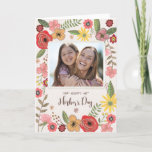 Stylish Pink & Yellow Floral Mother's Day Card