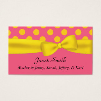 Stylish Pink & Yellow Polka Dot Mommy Card