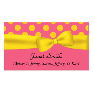 Stylish Pink & Yellow Polka Dot Mommy Card Double-Sided Standard Business Cards (Pack Of 100)