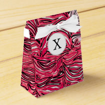 Stylish Pink Zebra Print Monogram Favor Box