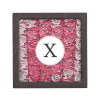 Stylish Pink Zebra Print Monogram Keepsake Box