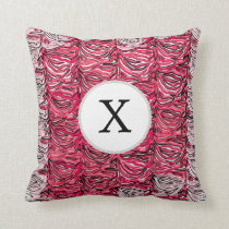 Stylish Pink Zebra Print Monogram Throw Pillow