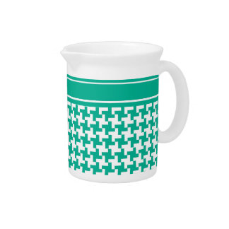 Stylish Pitcher or Jug, Emerald Dogtooth Check