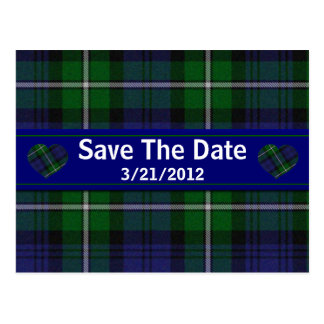Stylish Plaid Save The Date Postcard
