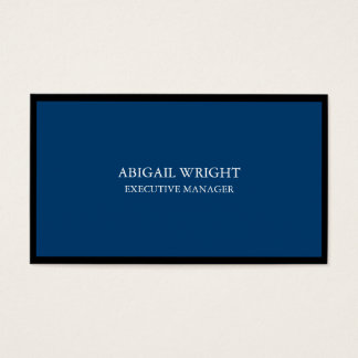 Stylish Plain Simple Blue Black Professional Business Card