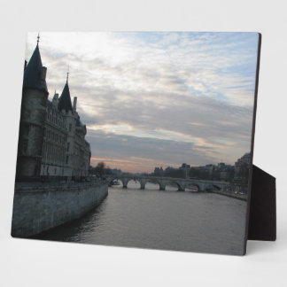 Stylish Plaque with beautiful sunset in Paris
