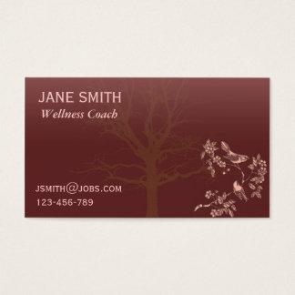 Stylish Plum Burgundy Wellness Caoch tree of life Business Card