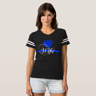 Stylish Police Wife Thin Blue Line Rose T-shirt