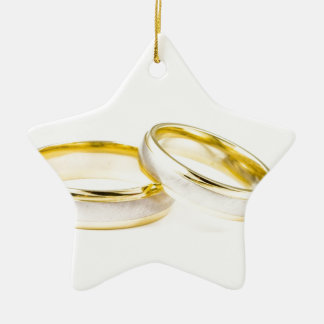 Stylish, Polished, & Classy Wedding Rings Double-Sided Star Ceramic Christmas Ornament