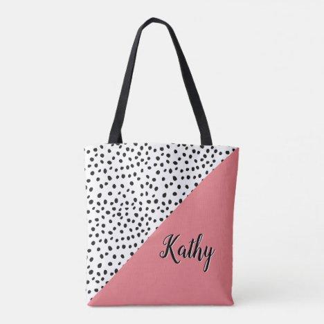 Stylish Polka Dot Pink & Black with Name Tote Bag