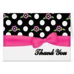 Stylish Polka Dot & Pink Flowers Thank You Card
