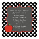 "Stylish Polka Dot Teacher's Luncheon Invitation 5.25"" Square Invitation Card"