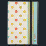 "Stylish Polka Dots Custom iPad Air Case<br><div class=""desc"">Stylish iPad Air case,  with built in stand,  done in a colorful polka dot pattern on cream. Graphics of pale green and aqua band runs down the front edge,  with orange colored text ready to personalize.</div>"