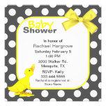 Stylish Polka Dots & Ducky Baby Shower Invitation