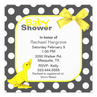 Stylish Polka Dots Ducky Baby Shower Invitation