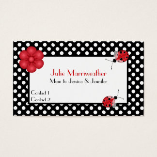 Stylish Polka Dots & Ladybugs Mommy Calling Card