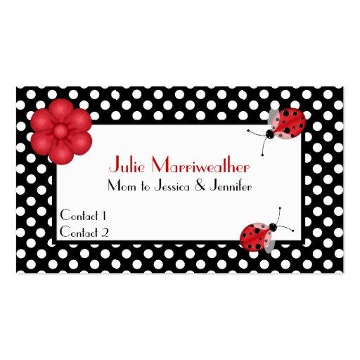 Stylish Polka Dots & Ladybugs Mommy Calling Card Business Card Templates