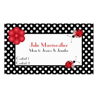 Stylish Polka Dots & Ladybugs Mommy Calling Card Double-Sided Standard Business Cards (Pack Of 100)