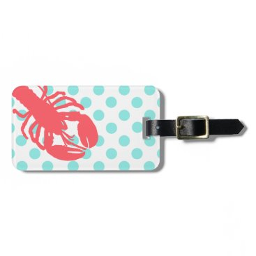 Beach Themed Stylish Polka Dots & Lobster Luggage Tag