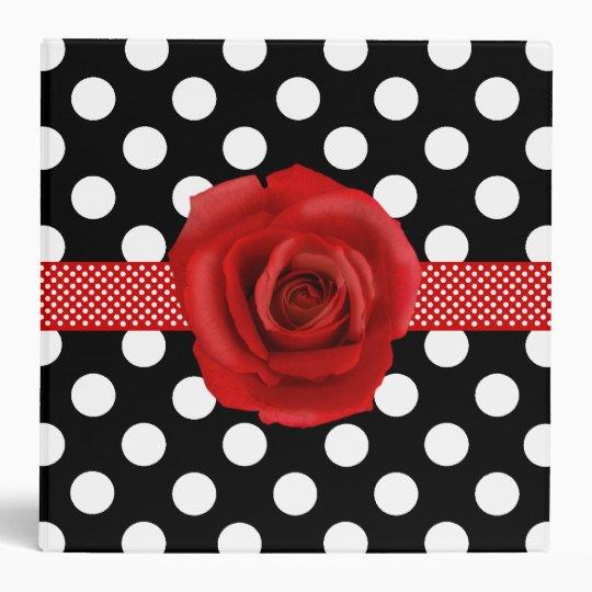 Stylish Polka Dots & Rose Binder