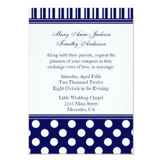 Stylish Polka Dots & Stripes Wedding Invitation
