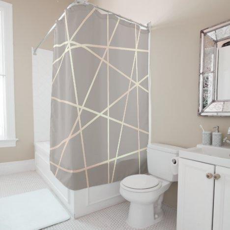Stylish pretty chick rose gold & grey geometric shower curtain