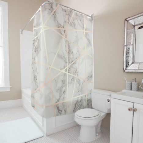 Stylish pretty chick rose gold & white marble shower curtain