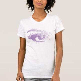 Stylish Pretty Eye of Woman Halftone-Violet Purple T-Shirt