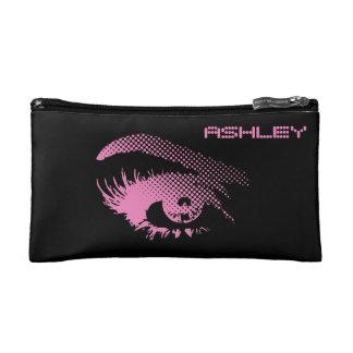 Stylish Pretty Eye of Woman in Halftone Pink Makeup Bag