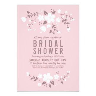 Stylish Pretty Floral Pink Bridal Shower Invite