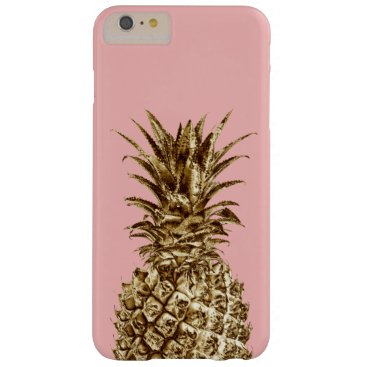 Stylish pretty girly gold & pastel pink pineapple barely there iPhone 6 plus case