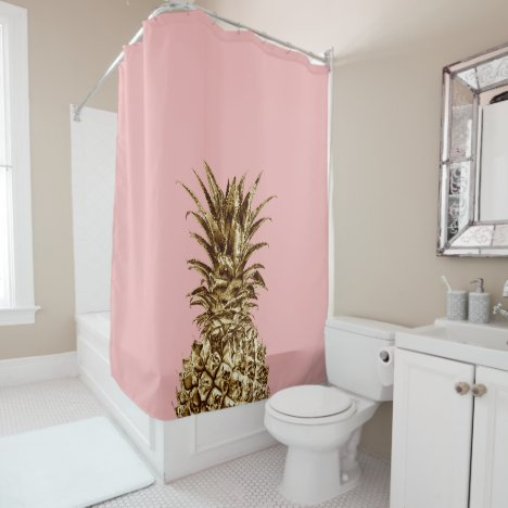 Stylish pretty girly gold & pastel pink pineapple shower curtain