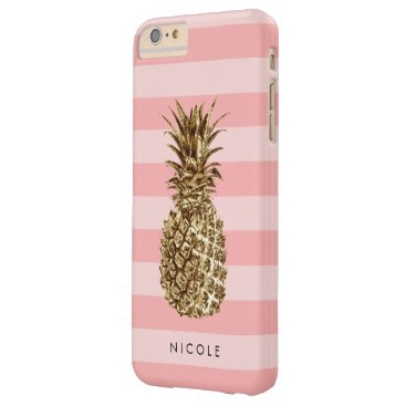 Stylish pretty girly gold pineapple & pink stripe barely there iPhone 6 plus case